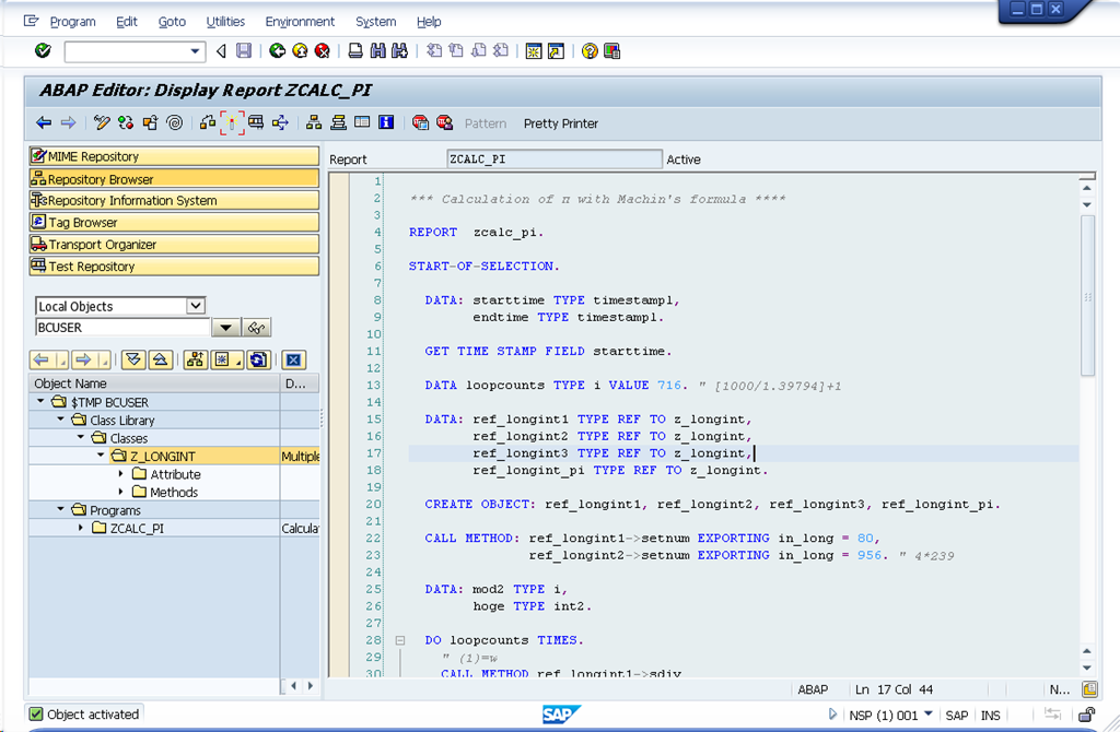 Calculating PI in ABAP | すなのかたまり